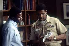 Derek Luke and Denzel Washington on the set of Fox Searchlight's Antwone Fisher - 2002