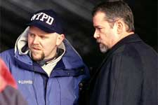 Writer/Director Joe Carnahan and Ray Liotta on the set of Paramount's Narc - 2002