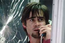 Colin Farrell as a slick media consultant who is trapped in a phone booth after being told by a caller - a serial killer with a sniper rifle - that he'll be shot dead if he hangs up in 20th Century Fox's Phone Booth - 2003
