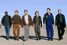 (l to r) Delroy Lindo as Brazzelton, Tcheky Karyo as Serge, Aaron Eckhart as Josh, Hilary Swank as Beck, Bruce Greenwood as Iverson and Stanley Tucci as Zimsky