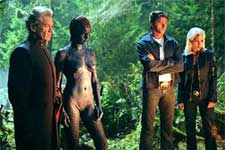 Ian McKellen as Magneto, Rebecca Romijn-Stamos as Mystique, Hugh Jackman as Logan, and Halle Berry as Storm in 20th Century Fox's X2: X-Men United - 2003