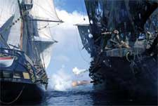 A pirate ship battle in Walt Disney's Pirates Of The Caribbean: The Curse of the Black Pearl - 2003
