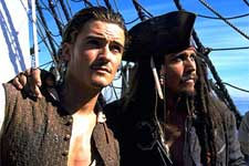 Orlando Bloom and Johnny Depp of Walt Disney's Pirates Of The Caribbean: The Curse of the Black Pearl - 2003