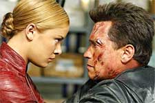 Kristanna Loken and Arnold Schwarzenegger in Warner Brothers' Terminator 3: Rise of the Machines - 2003